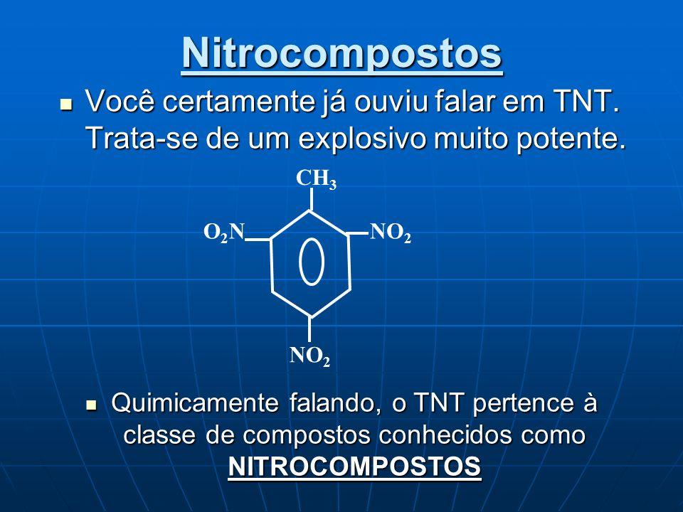 Nitrocompostos Você certamente já ouviu falar em TNT. Trata-se de um explosivo muito potente. Você certamente já ouviu falar em TNT. Trata-se de um ex