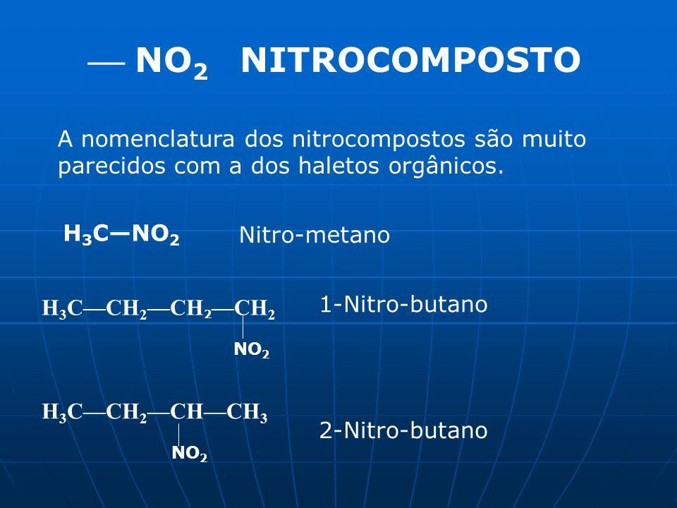 NO 2 NITROCOMPOSTO A nomenclatura dos nitrocompostos são muito parecidos com a dos haletos orgânicos. H 3 CNO 2 Nitro-metano H 3 CCH 2 CH 2 CH 2 NO 2