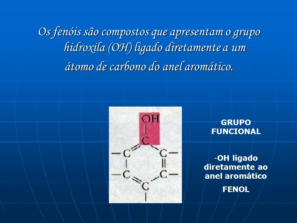 Os fenóis são compostos que apresentam o grupo hidroxila (OH) ligado diretamente a um átomo de carbono do anel aromático. GRUPO FUNCIONAL -OH ligado d