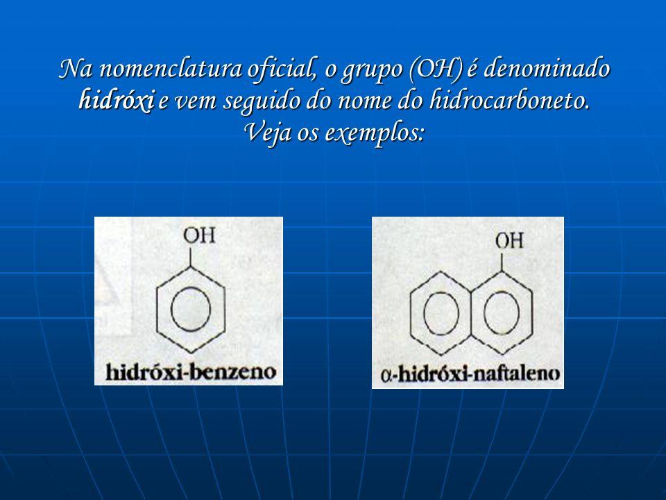 Na nomenclatura oficial, o grupo (OH) é denominado hidróxi e vem seguido do nome do hidrocarboneto. Veja os exemplos: