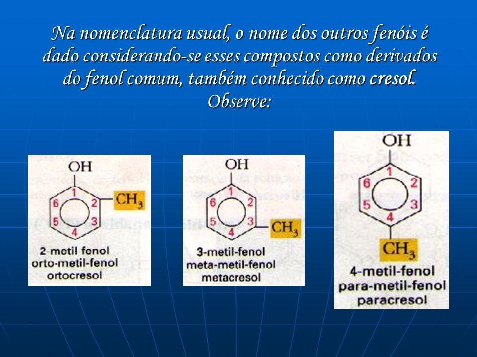 Na nomenclatura usual, o nome dos outros fenóis é dado considerando-se esses compostos como derivados do fenol comum, também conhecido como cresol. Ob