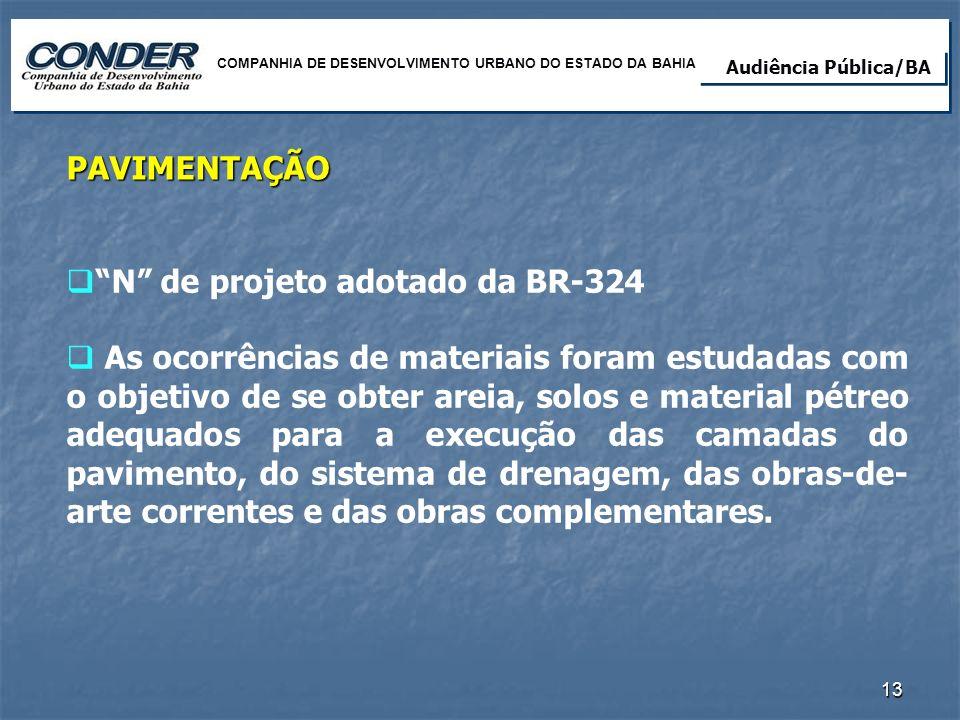 N de projeto adotado da BR-324 As ocorrências de materiais foram estudadas com o objetivo de se obter areia, solos e material pétreo adequados para a