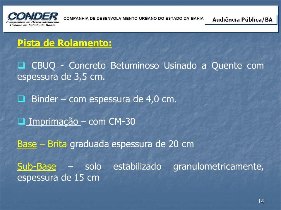 Pista de Rolamento: CBUQ - Concreto Betuminoso Usinado a Quente com espessura de 3,5 cm. Binder – com espessura de 4,0 cm. Imprimação – com CM-30 Base