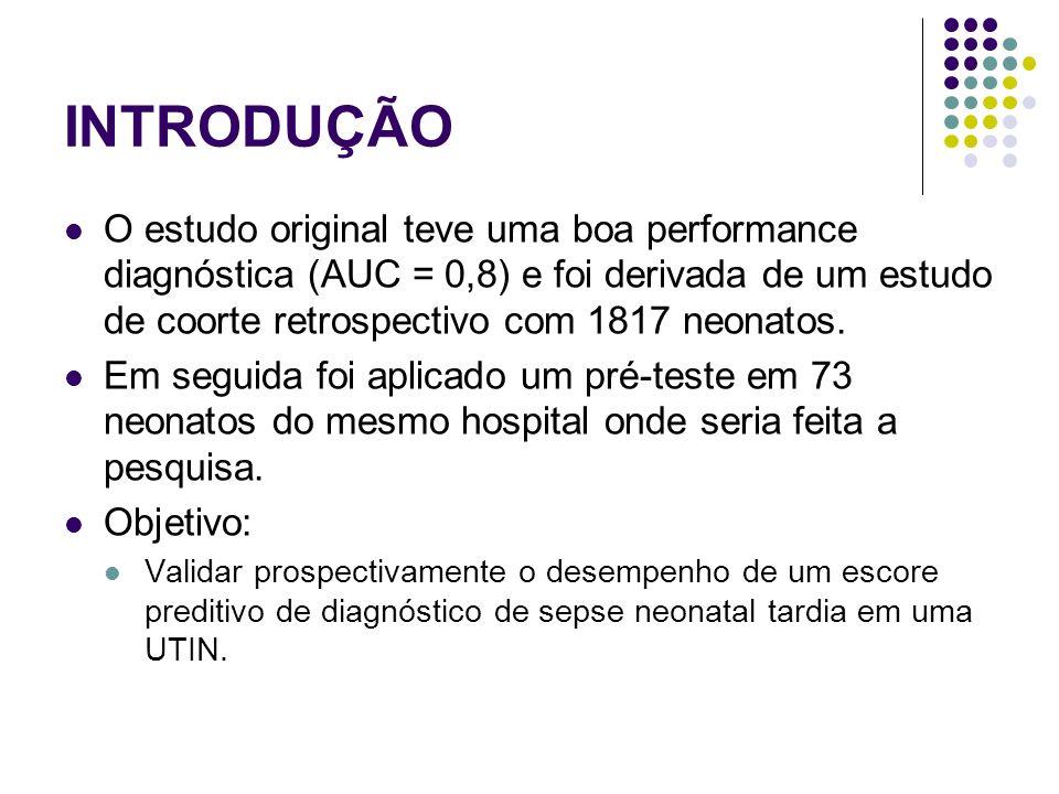 CONCLUSÃO O escore associado à avaliação clínica e exames hematológicos simples foram aceitáveis como performances preditivas.