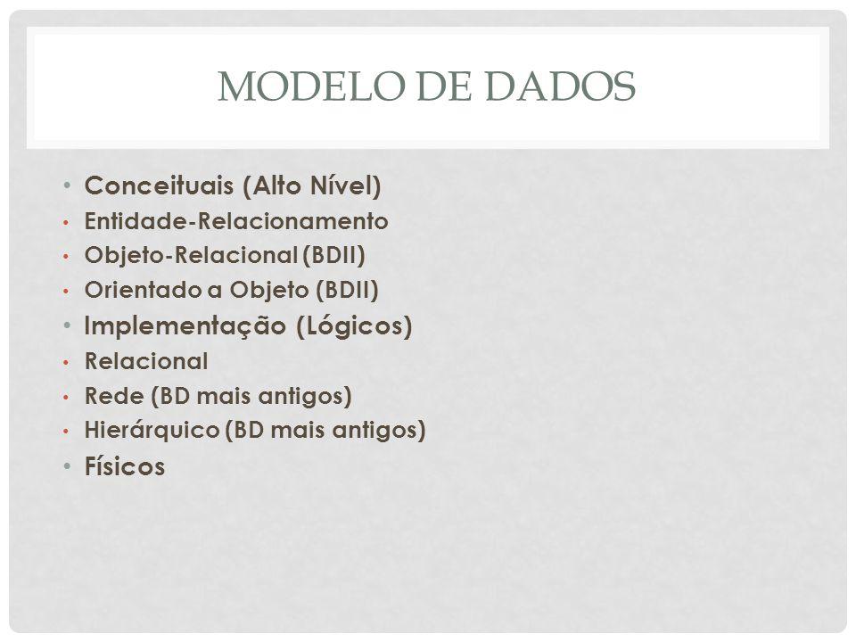 MODELO DE DADOS Conceituais (Alto Nível) Entidade-Relacionamento Objeto-Relacional (BDII) Orientado a Objeto (BDII) Implementação (Lógicos) Relacional