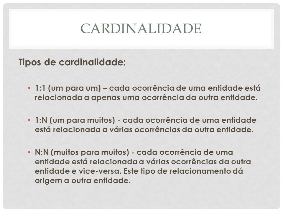 CARDINALIDADE Tipos de cardinalidade: 1:1 (um para um) – cada ocorrência de uma entidade está relacionada a apenas uma ocorrência da outra entidade. 1