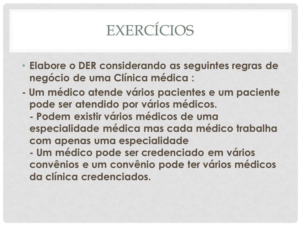 EXERCÍCIOS Elabore o DER considerando as seguintes regras de negócio de uma Clínica médica : - Um médico atende vários pacientes e um paciente pode se