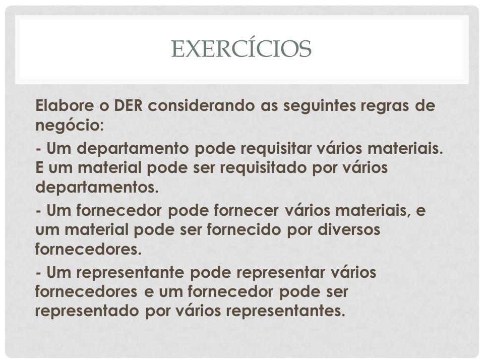EXERCÍCIOS Elabore o DER considerando as seguintes regras de negócio: - Um departamento pode requisitar vários materiais. E um material pode ser requi