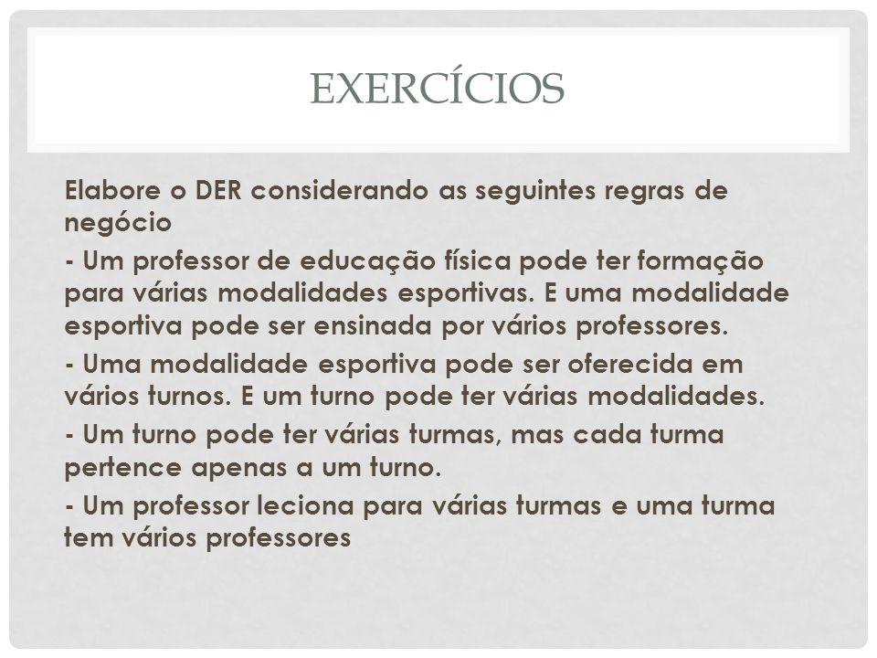 EXERCÍCIOS Elabore o DER considerando as seguintes regras de negócio - Um professor de educação física pode ter formação para várias modalidades espor
