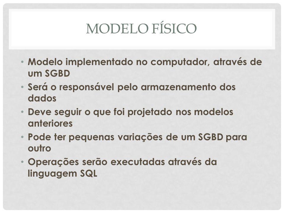 MODELO FÍSICO Modelo implementado no computador, através de um SGBD Será o responsável pelo armazenamento dos dados Deve seguir o que foi projetado no