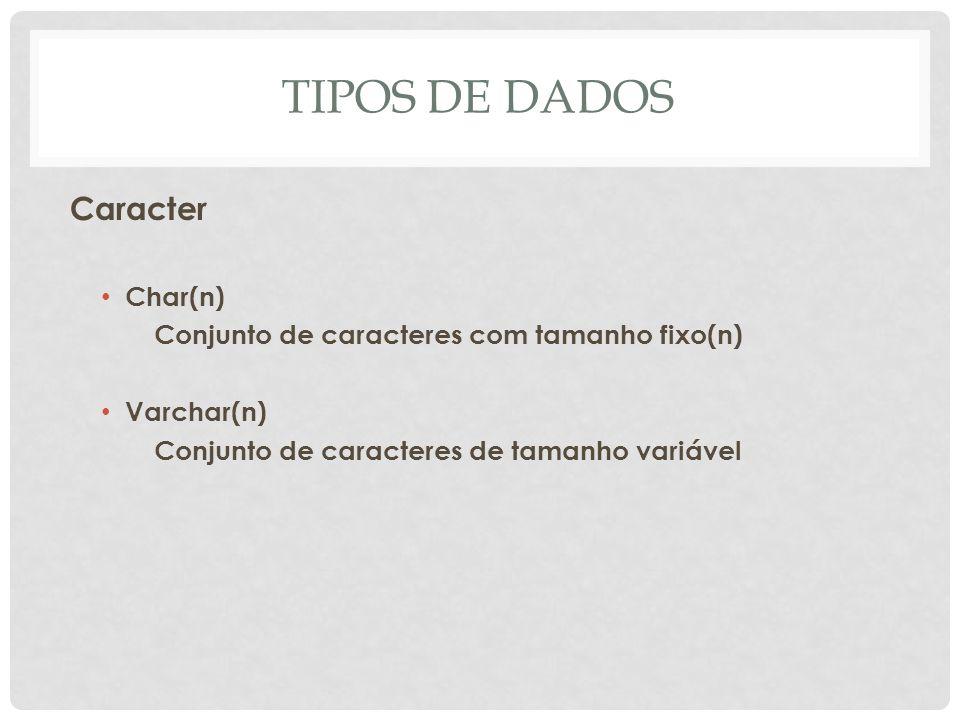 TIPOS DE DADOS Caracter Char(n) Conjunto de caracteres com tamanho fixo(n) Varchar(n) Conjunto de caracteres de tamanho variável