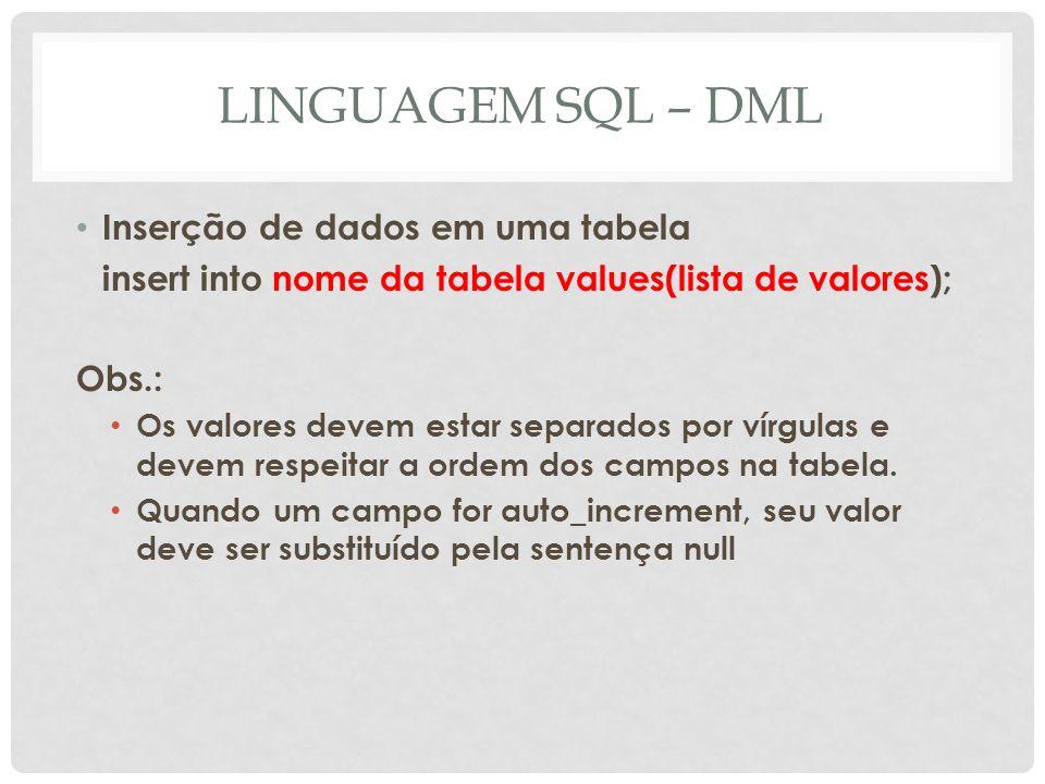 LINGUAGEM SQL – DML Inserção de dados em uma tabela insert into nome da tabela values(lista de valores); Obs.: Os valores devem estar separados por ví