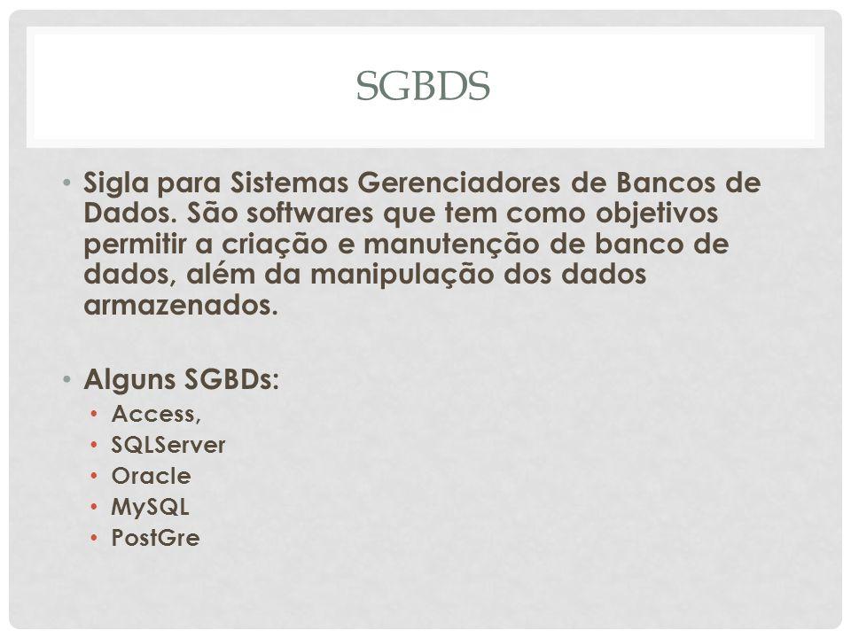 SGBDS Sigla para Sistemas Gerenciadores de Bancos de Dados. São softwares que tem como objetivos permitir a criação e manutenção de banco de dados, al