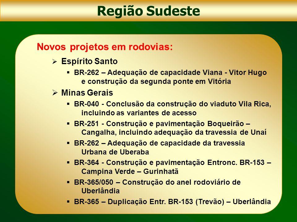Região Sudeste Novos projetos em rodovias: Espírito Santo BR-262 – Adequação de capacidade Viana - Vitor Hugo e construção da segunda ponte em Vitória