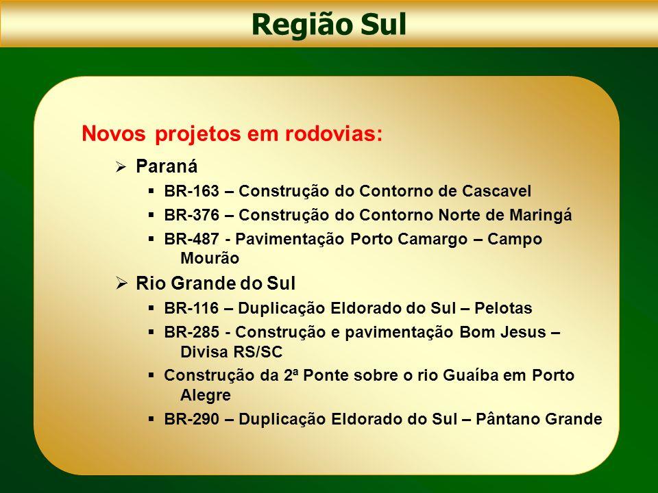 Novos projetos em rodovias: Paraná BR-163 – Construção do Contorno de Cascavel BR-376 – Construção do Contorno Norte de Maringá BR-487 - Pavimentação
