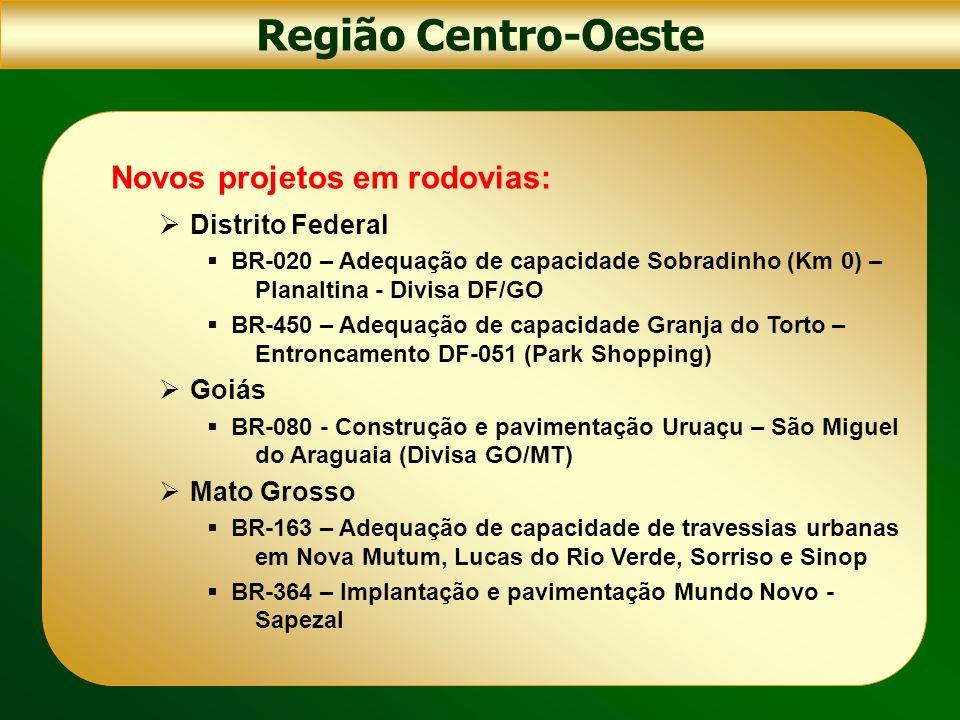 Região Centro-Oeste Novos projetos em rodovias: Mato Grosso do Sul BR-163 – Adequação de capacidade da travessia de Dourados BR-262 – Construção do contorno de Corumbá (Entroncamento BR-359 - Fronteira Brasil – Bolívia) BR-262 - Construção da ponte sobre o rio Paraná entre Três Lagoas/MS – Castilho/SP BR-262 - Construção do Anel Rodoviário de Campo Grande (interligando as BRs 060, 163 e 262) BR-359 – Construção Entronc.