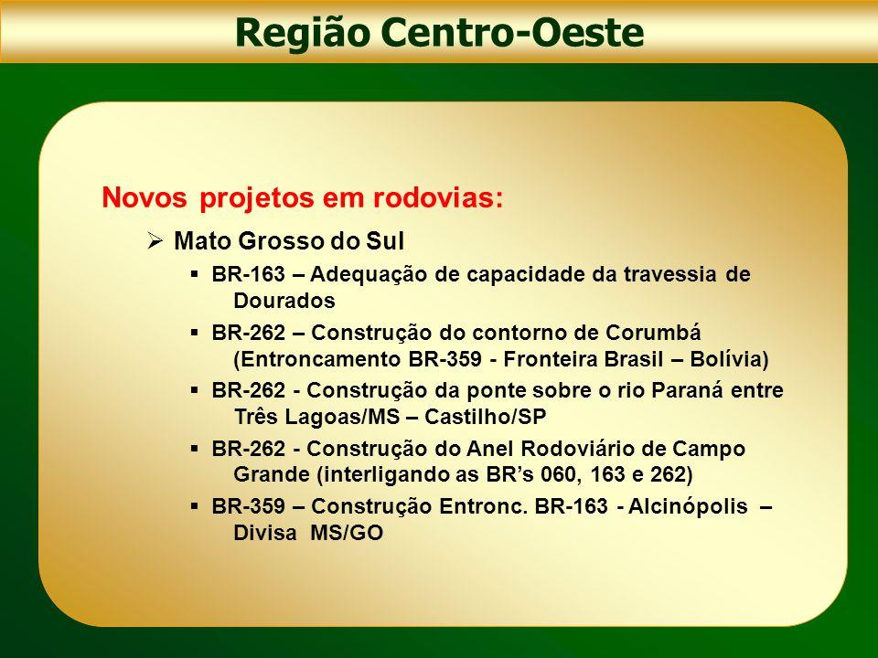 Região Centro-Oeste Novos projetos em rodovias: Mato Grosso do Sul BR-163 – Adequação de capacidade da travessia de Dourados BR-262 – Construção do co