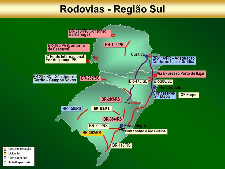 BR-158/RS BR-392/RS BR-386/RS BR-116/PR – Adequação Contorno Leste Curitiba BR-280/SC BR-153/PR BR-282/SC BR-282/SC – São Jose do Cerrito – Campos Nov