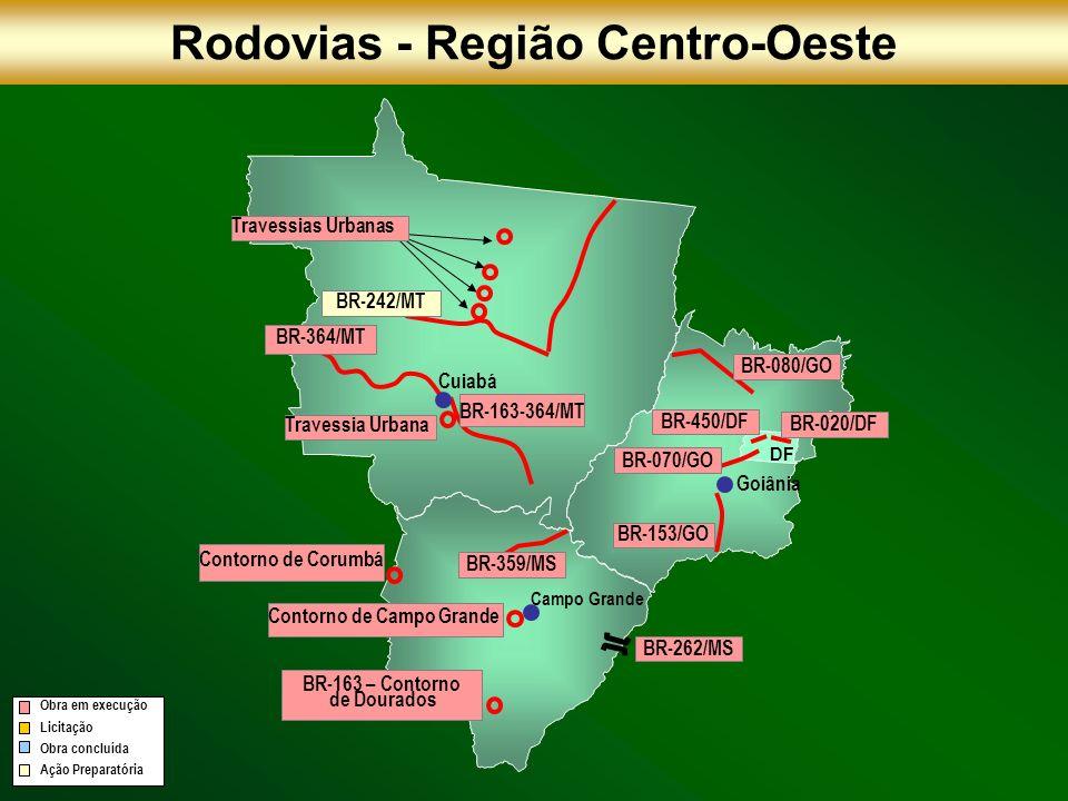BR-242/MT BR-364/MT BR-163-364/MT BR-153/GO BR-070/GO Cuiabá Campo Grande Goiânia DF Rodovias - Região Centro-Oeste BR-450/DF BR-020/DF BR-080/GO Cont