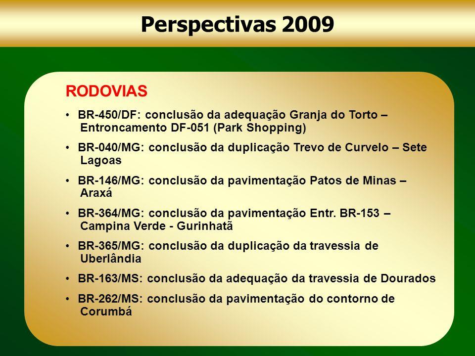 Perspectivas 2009 RODOVIAS BR-450/DF: conclusão da adequação Granja do Torto – Entroncamento DF-051 (Park Shopping) BR-040/MG: conclusão da duplicação