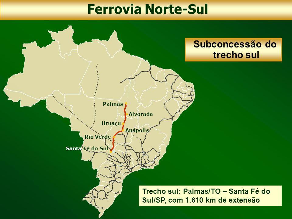 Trecho sul: Palmas/TO – Santa Fé do Sul/SP, com 1.610 km de extensão Palmas Uruaçu Anápolis Rio Verde Santa Fé do Sul Alvorada Subconcessão do trecho