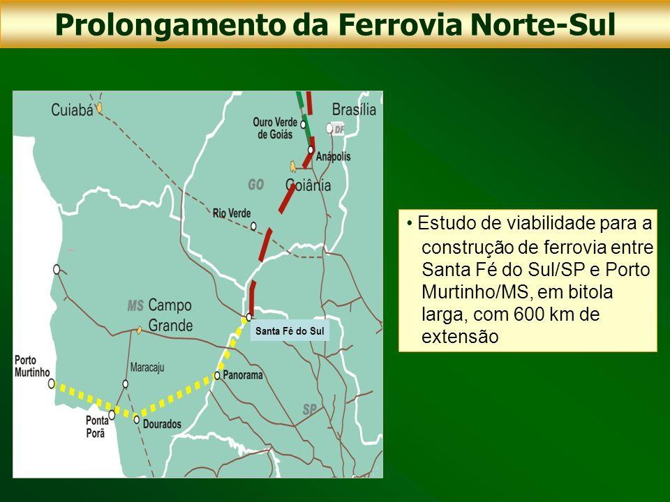 Estudo de viabilidade para a construção de ferrovia entre Santa Fé do Sul/SP e Porto Murtinho/MS, em bitola larga, com 600 km de extensão Prolongament