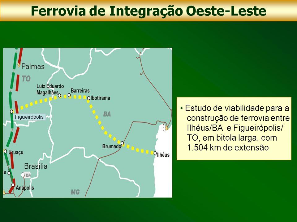 Estudo de viabilidade para a construção de ferrovia entre Ilhéus/BA e Figueirópolis/ TO, em bitola larga, com 1.504 km de extensão Ferrovia de Integra