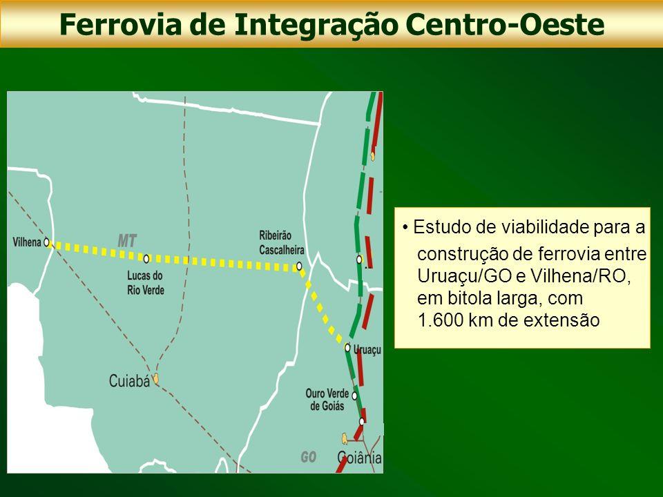 Estudo de viabilidade para a construção de ferrovia entre Uruaçu/GO e Vilhena/RO, em bitola larga, com 1.600 km de extensão Ferrovia de Integração Cen