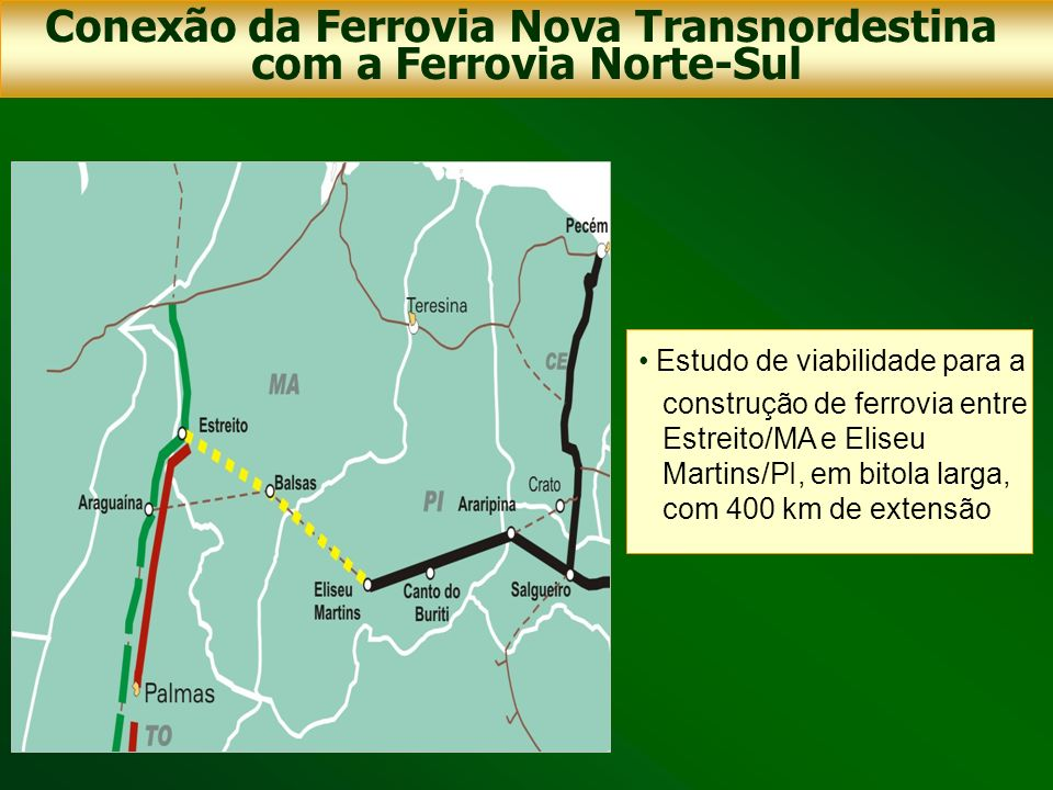 Estudo de viabilidade para a construção de ferrovia entre Estreito/MA e Eliseu Martins/PI, em bitola larga, com 400 km de extensão Conexão da Ferrovia