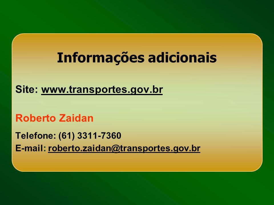 Informações adicionais Site: www.transportes.gov.brwww.transportes.gov.br Roberto Zaidan Telefone: (61) 3311-7360 E-mail: roberto.zaidan@transportes.g