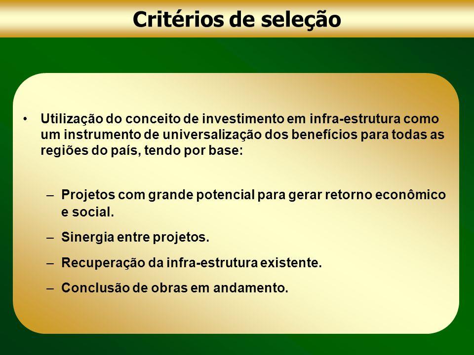 Critérios de seleção Utilização do conceito de investimento em infra-estrutura como um instrumento de universalização dos benefícios para todas as reg