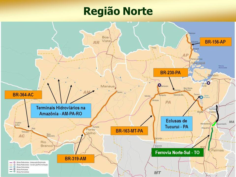 Região Norte Novos projetos em rodovias: Amazonas BR-317 – Construção e pavimentação Boca do Acre – Divisa AM/AC Para BR-230 – Construção de ponte sobre o Rio Araguaia – Divisa PA/TO Rondônia BR-429 – Construção e pavimentação Entr.