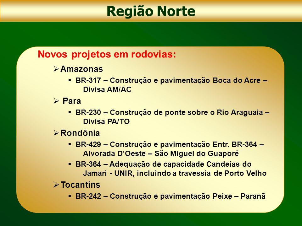 Região Norte Novos projetos em rodovias: Amazonas BR-317 – Construção e pavimentação Boca do Acre – Divisa AM/AC Para BR-230 – Construção de ponte sob