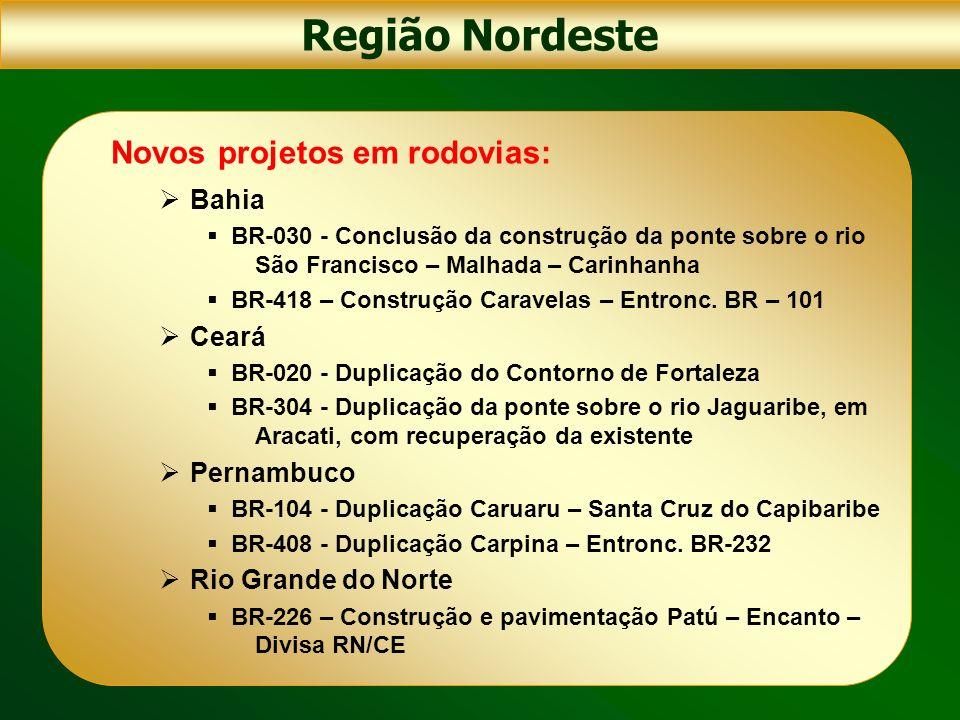 Novos projetos em rodovias: Bahia BR-030 - Conclusão da construção da ponte sobre o rio São Francisco – Malhada – Carinhanha BR-418 – Construção Carav