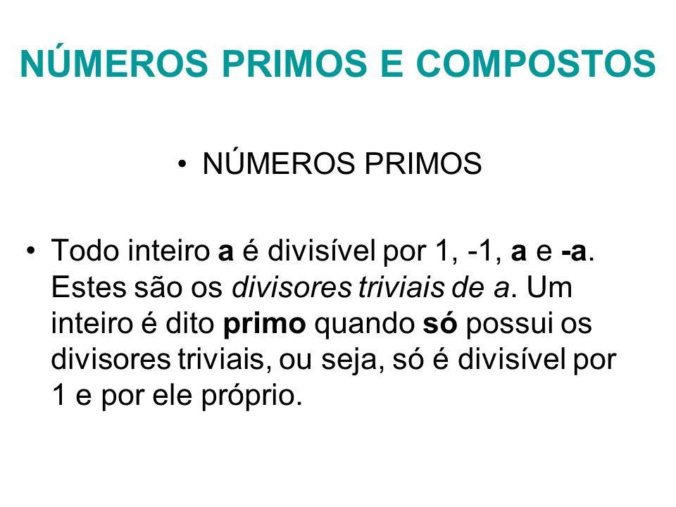 NÚMERO COMPOSTO Um inteiro de valor absoluto maior que 1 e que não seja primo (isto é, possua divisores não triviais) é dito composto.composto Por exemplo: São primos: 2, -2, 3, -3, 17,....