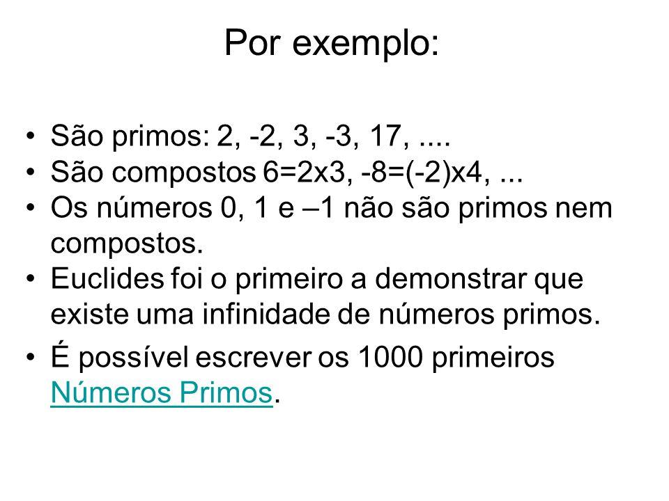 Por exemplo: São primos: 2, -2, 3, -3, 17,.... São compostos 6=2x3, -8=(-2)x4,... Os números 0, 1 e –1 não são primos nem compostos. Euclides foi o pr