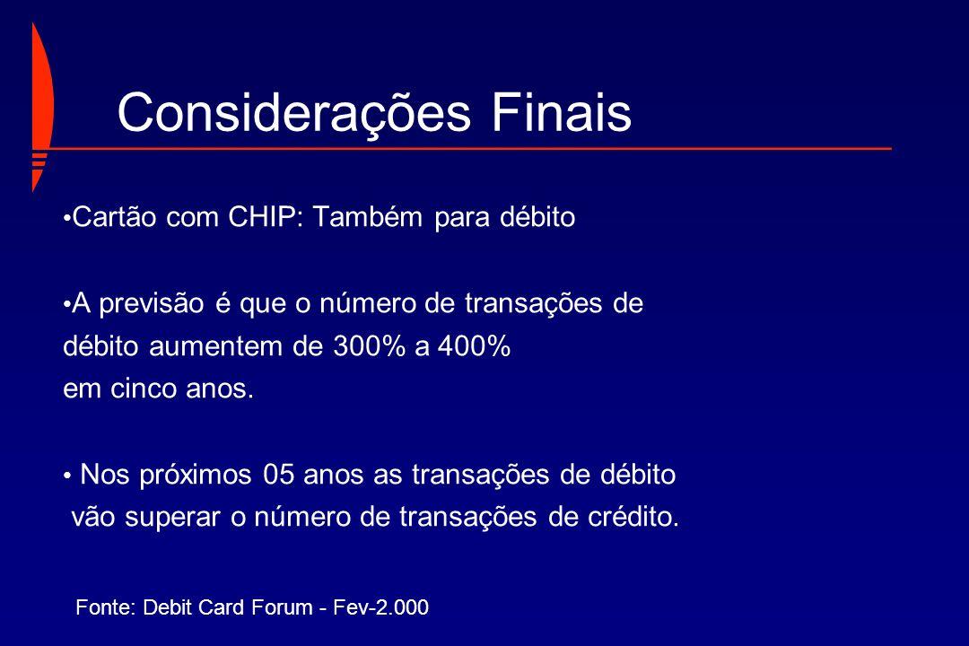 Cartão com CHIP: Também para débito A previsão é que o número de transações de débito aumentem de 300% a 400% em cinco anos. Nos próximos 05 anos as t