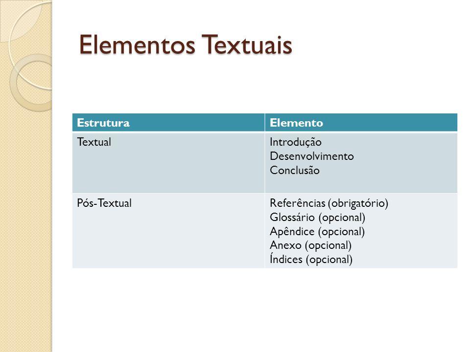 Elementos Textuais EstruturaElemento TextualIntrodução Desenvolvimento Conclusão Pós-TextualReferências (obrigatório) Glossário (opcional) Apêndice (o
