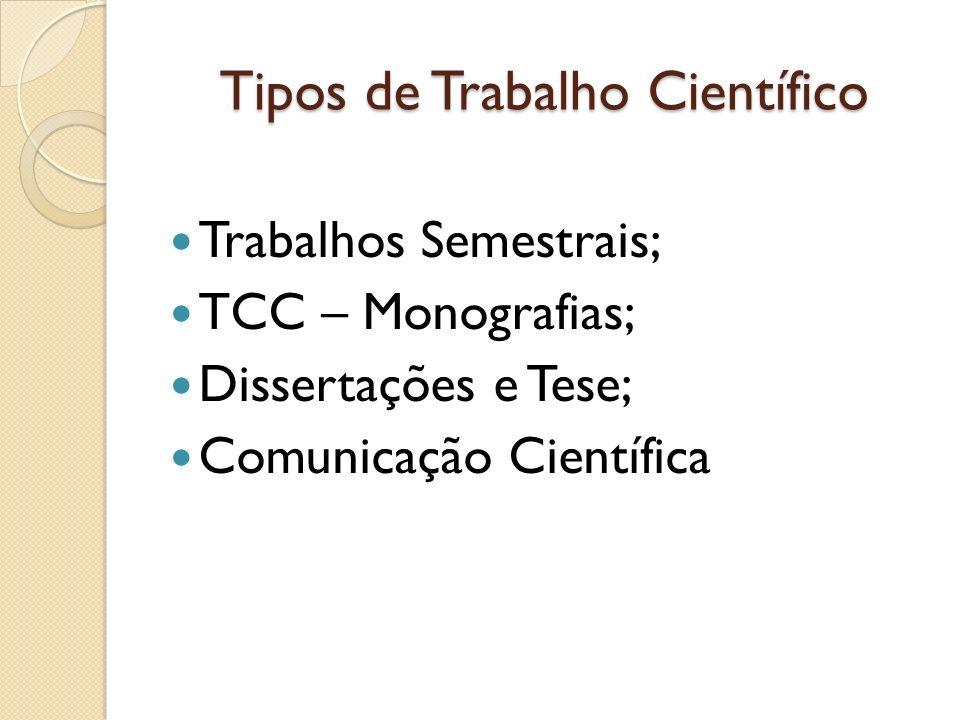 Tipos de Trabalho Científico Trabalhos Semestrais; TCC – Monografias; Dissertações e Tese; Comunicação Científica