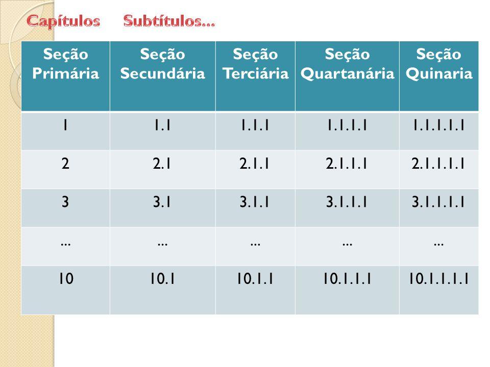 Seção Primária Seção Secundária Seção Terciária Seção Quartanária Seção Quinaria 11.11.1.11.1.1.11.1.1.1.1 22.12.1.12.1.1.12.1.1.1.1 33.13.1.13.1.1.13