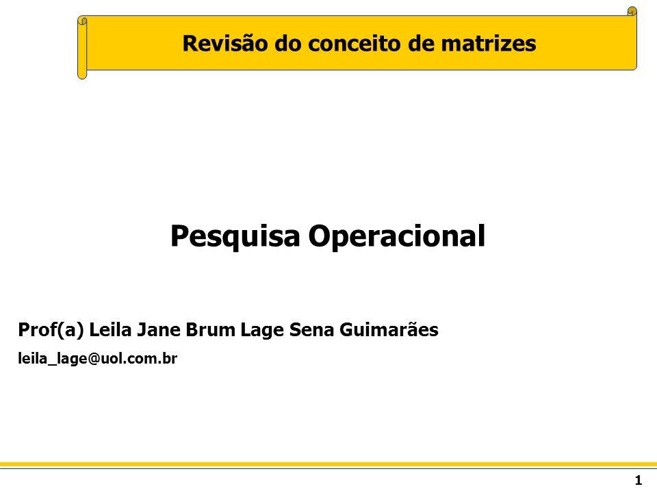 2 Tema da aula 02 Pesquisa Operacional: Álgebra Linear – revisão de matrizes.