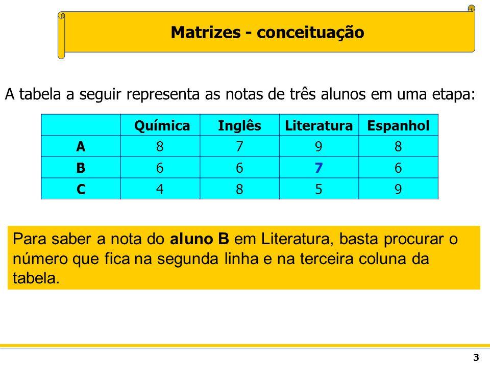 4 Matrizes - conceituação Representação matricial das notas do exemplo anterior.