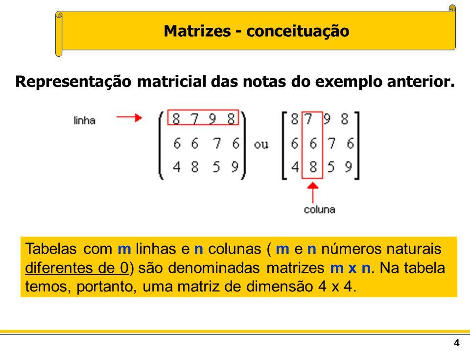 5 Matrizes - conceituação Em tabelas assim dispostas, os números são os elementos.