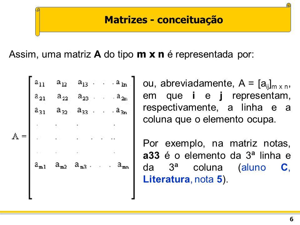 7 Matrizes - conceituação Representar a matriz A (2 x 3) conforme a equação aij = 2i + j.