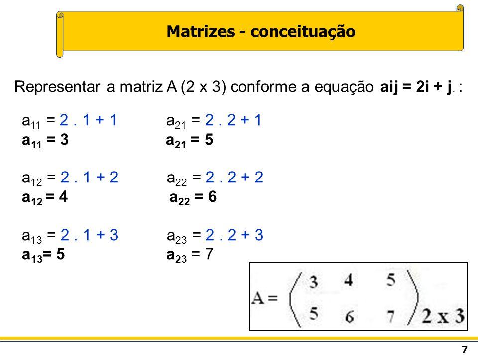 8 Soma de matrizes O resultado da soma será uma matriz com a mesma dimensão das matrizes originais.