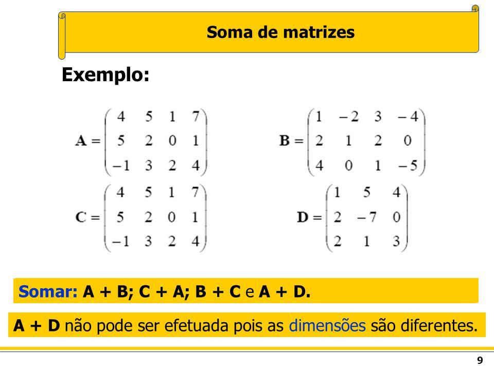10 Subtração de matrizes O resultado da subtração será uma matriz com a mesma dimensão das matrizes originais.
