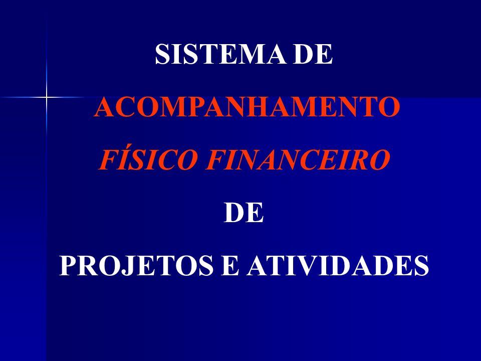 SISTEMA DE ACOMPANHAMENTO FÍSICO FINANCEIRO DE PROJETOS E ATIVIDADES
