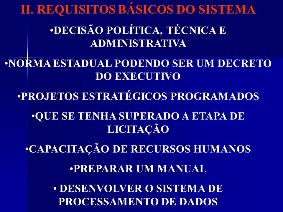 II. REQUISITOS BÁSICOS DO SISTEMA DECISÃO POLÍTICA, TÉCNICA E ADMINISTRATIVA NORMA ESTADUAL PODENDO SER UM DECRETO DO EXECUTIVO PROJETOS ESTRATÉGICOS