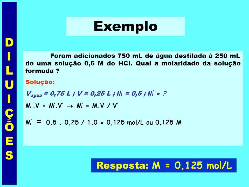 + V água Solução 1 Solução 2 M = n 1 / V n 1 = M.V M. V = M. V DILUIÇÕESDILUIÇÕES