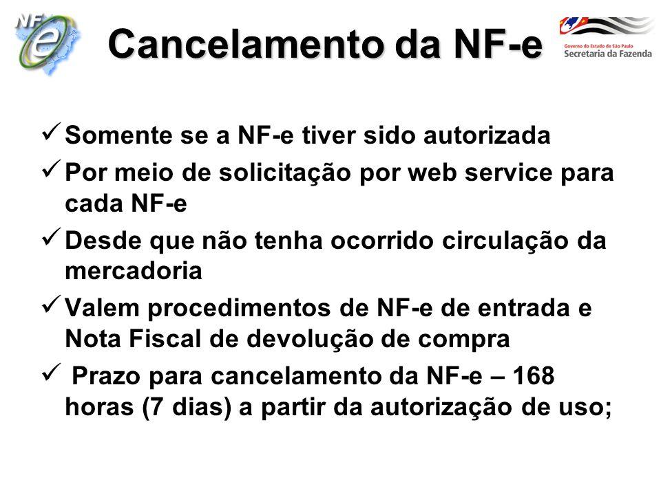 Cancelamento da NF-e Somente se a NF-e tiver sido autorizada Por meio de solicitação por web service para cada NF-e Desde que não tenha ocorrido circu